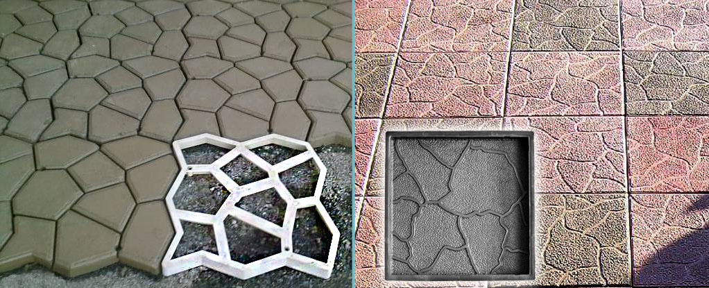 форма садовая дорожка, сравнение пластиковых форм, форма штамп для бетона
