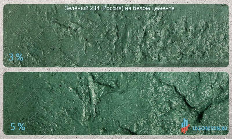 окраска белого бетона зеленым пигментом 234