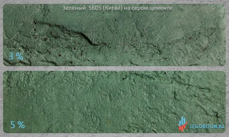 окраска серого бетона зеленым пигментом 5605