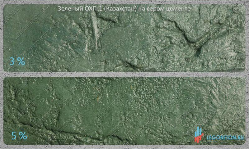 окраска серого бетона зеленым пигментом ОХП-1