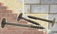 Шуруп крепления теплоизоляции к газобетону и гибкая связь
