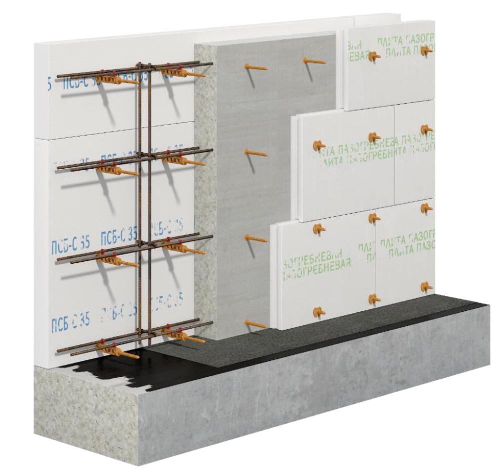 применение несъемной стяжки опалубки СВТ-2 для пазогребневой плиты