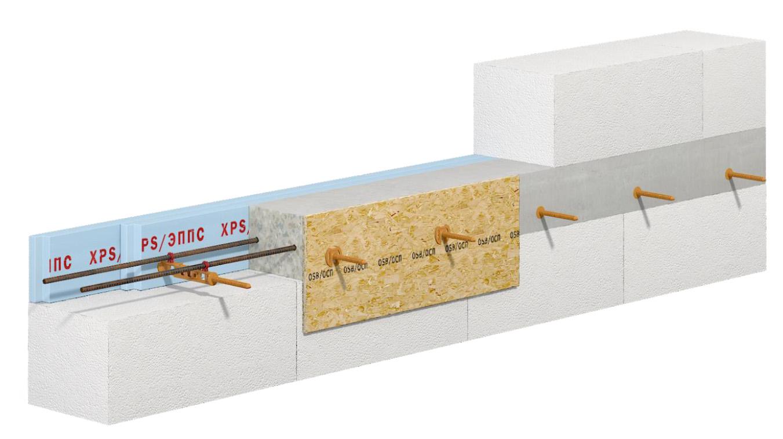 применение несъемной стяжки опалубки СВТ-2 для армопояса