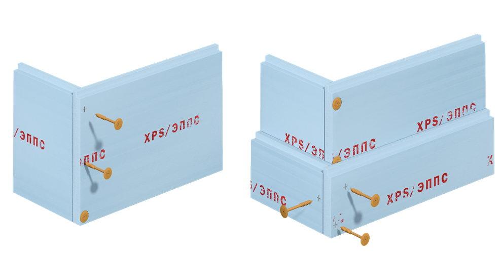 Формирование углов опалубки из XPS с помощью ШУРУПА СВТ Ф18