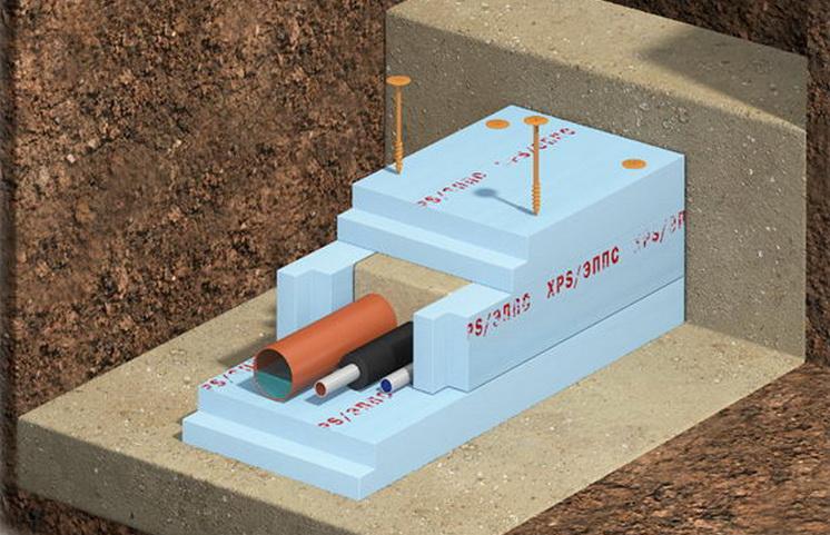сборка теплосберегающего тоннеля из ЭППС в открытом грунте с шурупом Ф18-ГБ