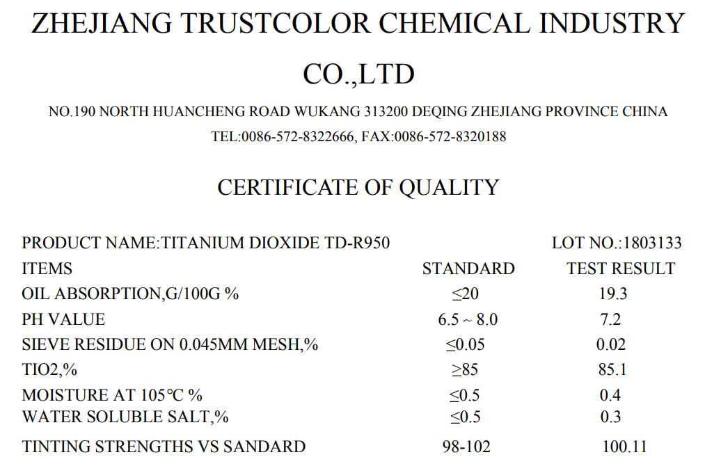 технические характеристики диоксида титана TD-R950 (китай)