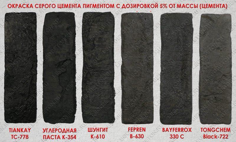 Сравнительные образцы окраски черным пигментом бетона на сером цементе -1