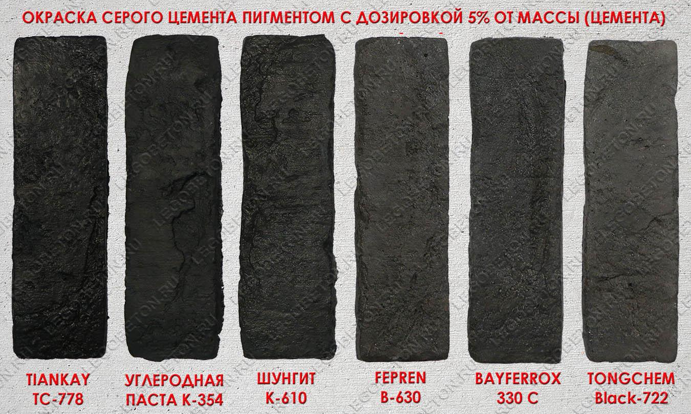 сравнительные образцы окраски черным пигментом серого бетона