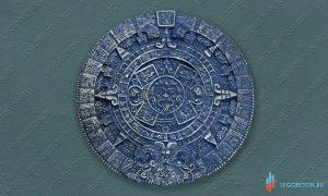 панно Календарь Майя черненная латунь из бетона купить в москве
