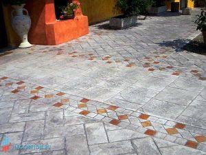 Штампованный бетон бордюр венецианский алмаз-03