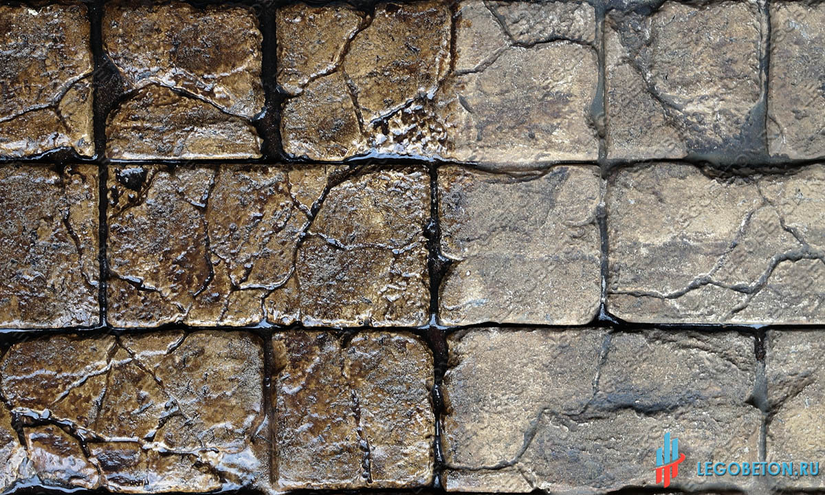 печатный бетон + лак с эффектом мокрого камня