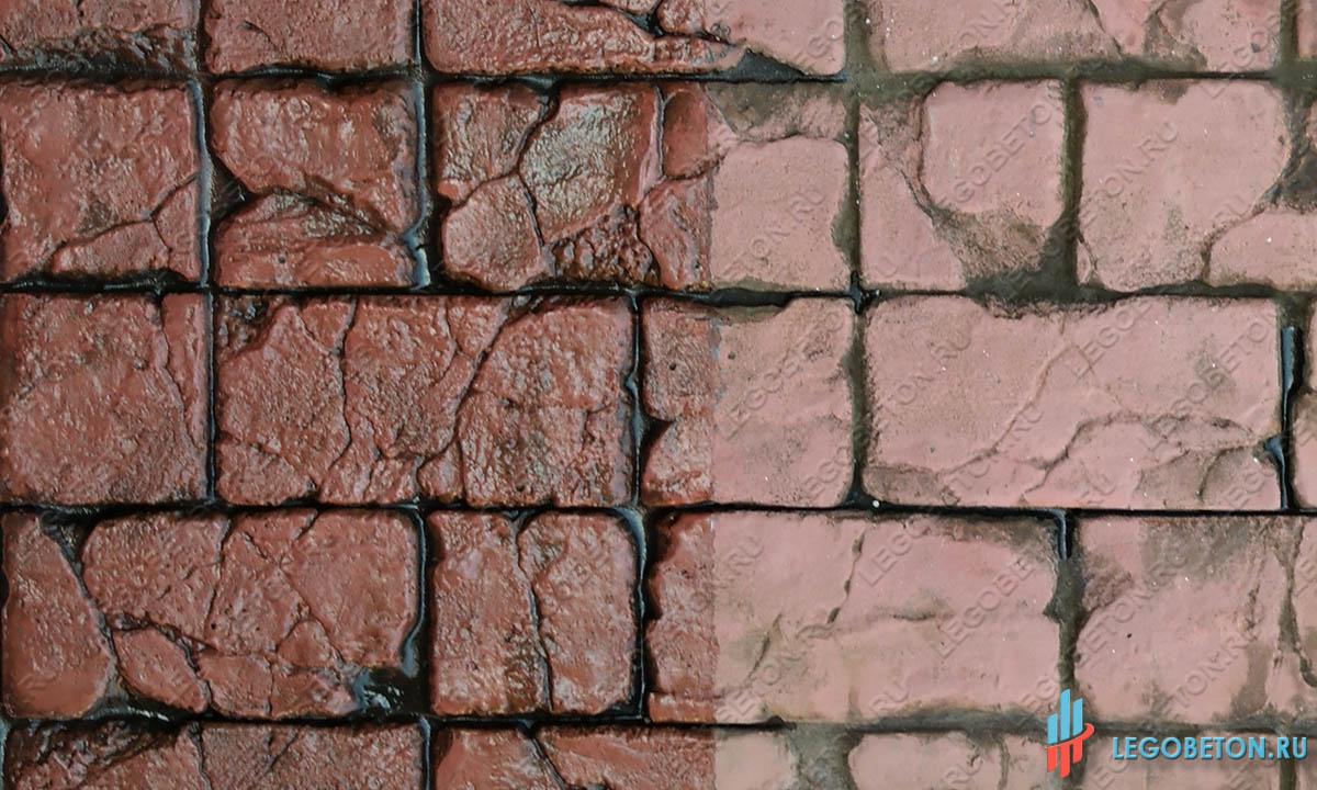 лак с эффектом мокрого камня на печатном бетоне