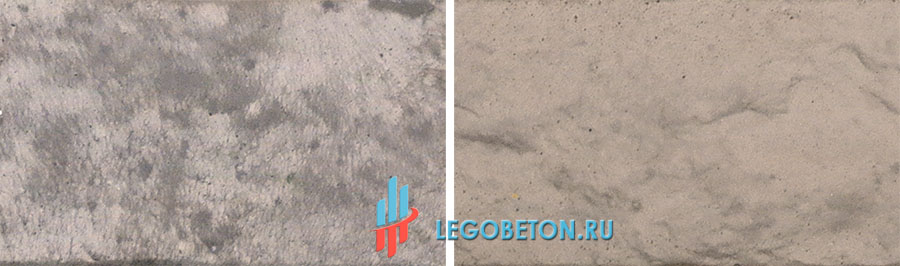пример разбеливания коричневого пигмента диоксидом титана при окраске бетона пигментами Bayferrox