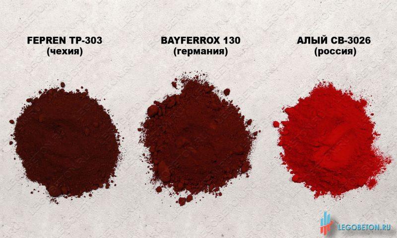 сравнение сухих красных пигментов