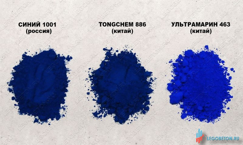 сравнение сухих синих пигментов